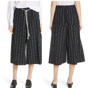 VINCE cotton costal culottes blue white striped